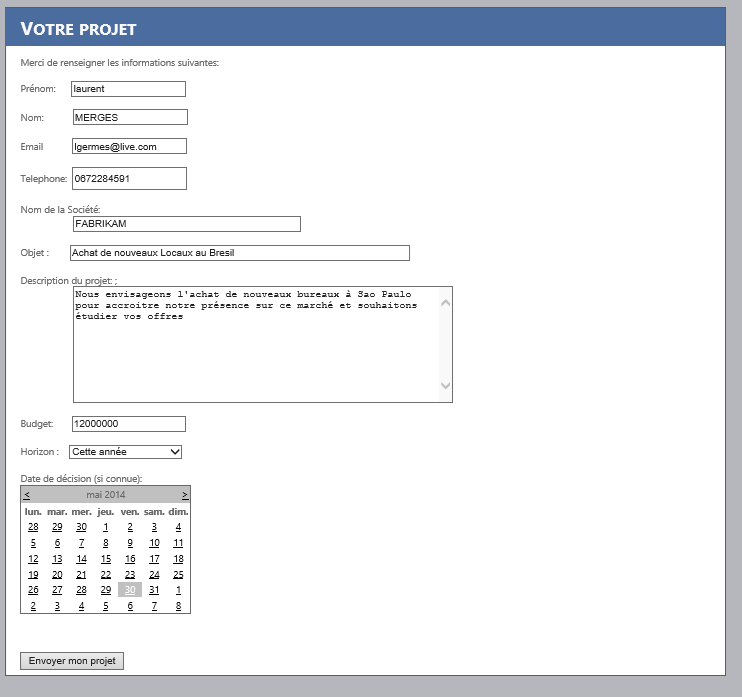 Cr er un formulaire web asp net connect dynamics crm - Formulaire de contact ...